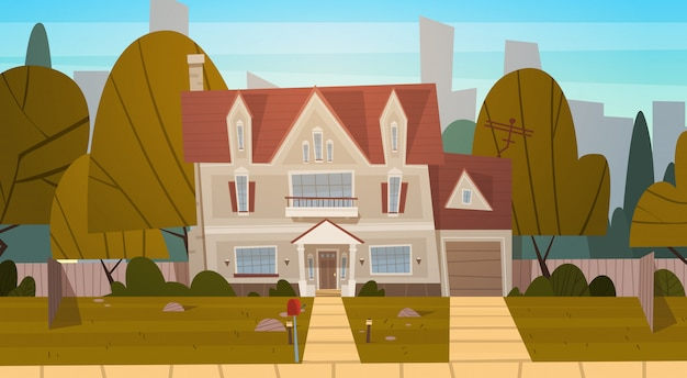 Suburbio de la construcción de viviendas de la gran ciudad en verano, casa real estate concepto de ciudad linda Vector Premium