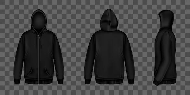 Sudadera negra con cremallera, capucha y bolsillos. vector gratuito
