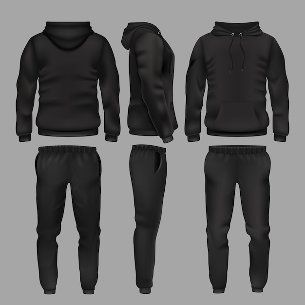 Sudadera y pantalón de hombre negro con ropa deportiva. ropa deportiva con capucha, ropa de moda masculina, pantalones y pantalones de chándal. Vector Premium