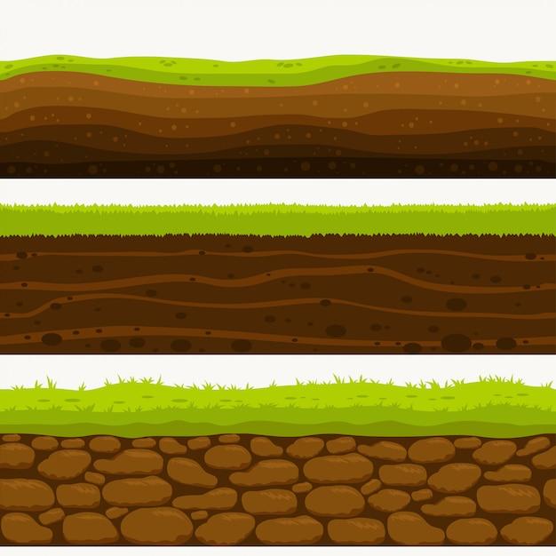 Suelo capas sin costura capa de tierra Vector Premium