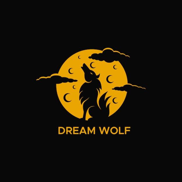 Sueño lobo luna noche logo Vector Premium