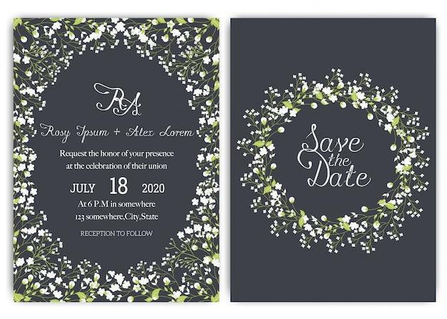 Suite de invitación de boda con flores de margarita. Vector Premium