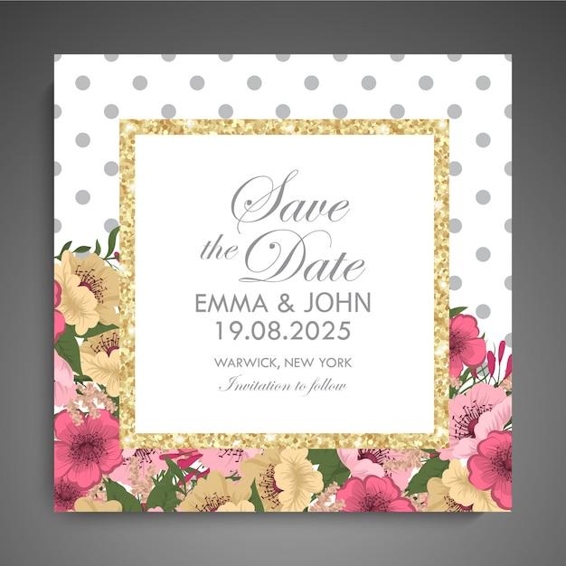 Suite de invitación de boda con flores. modelo. ilustración vectorial vector gratuito