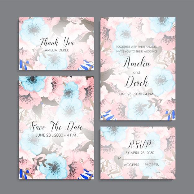 Suite de invitación de boda con flores. vector gratuito
