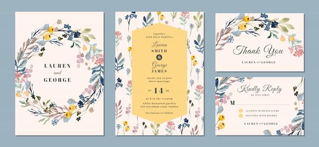 Suite de invitación de boda con hermoso fondo floral acuarela Vector Premium