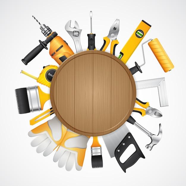 Suministros de herramientas de construcción para el constructor de construcción de viviendas Vector Premium