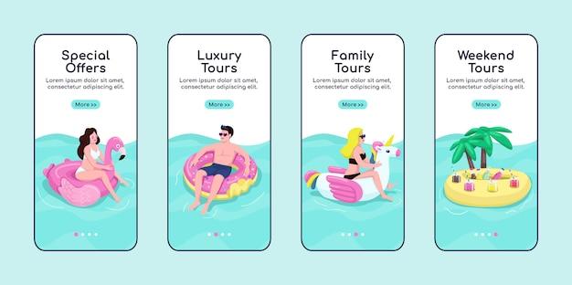 Summer sea tours onboarding plantilla de pantalla de la aplicación móvil. ofertas especiales, tours premium. paso a paso del sitio web con personajes. ux, ui, gui interfaz de dibujos animados de teléfonos inteligentes, conjunto de impresiones de casos Vector Premium