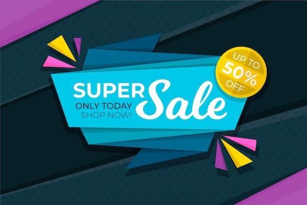 Super banner de venta en estilo origami vector gratuito
