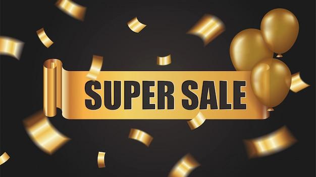 Super banner de venta con rollo de cinta dorada, confeti y globos sobre fondo negro Vector Premium