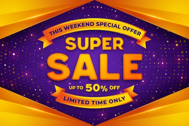 Super descuento de venta, plantilla de banner de promoción Vector Premium