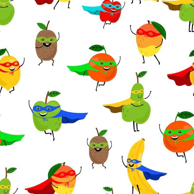Super frutas de patrones sin fisuras. Vector Premium