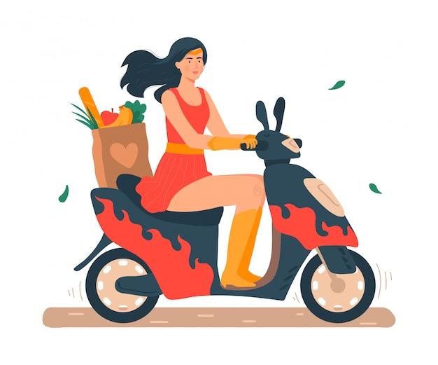 Super mamá ilustración, caricatura hermosa joven madre en traje de superhéroe montando moto o scooter en blanco Vector Premium