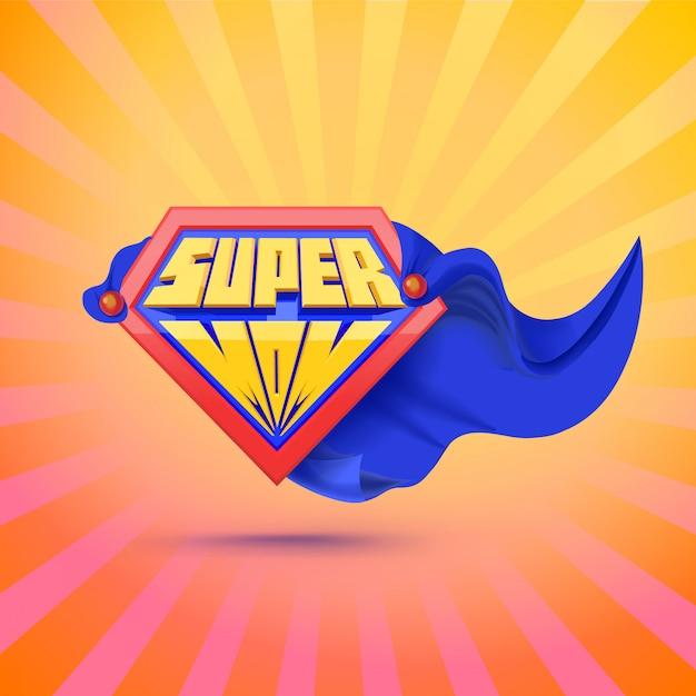 Súper mamá. logo de supermamá. concepto del día de la madre tarjeta para mamá. estilo cómico concepto de liderazgo ilustración Vector Premium