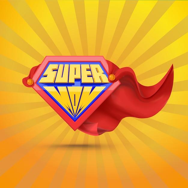 Súper mamá. logo de supermom. concepto del día de la madre madre superhéroe Vector Premium