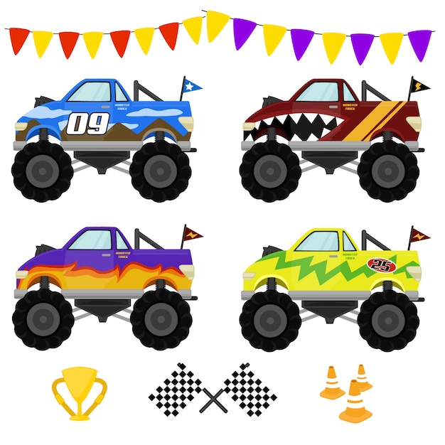 Super monster truck Vector Premium
