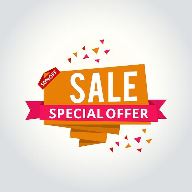 Super sale, este banner de oferta especial de fin de semana, hasta 50% de descuento. ejemplo del vector Vector Premium