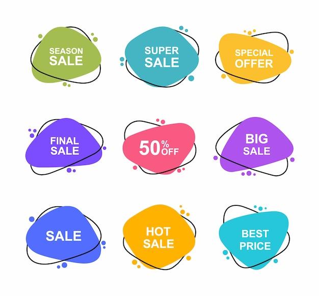 Super set banners dibujados a mano de diferentes formas. las etiquetas de venta establecen la plantilla de insignias 0, 2, 0, 35, 5, 50, 0, 5, 5 por ciento de descuento. promoción de descuento. Vector Premium