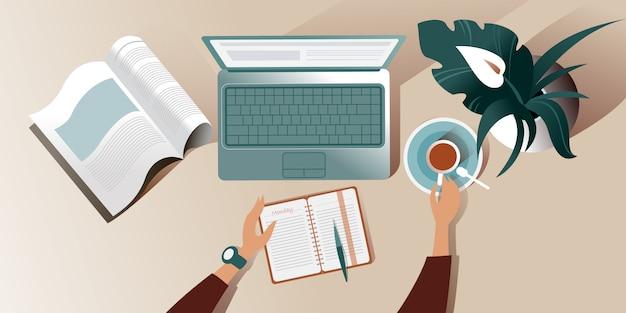 La superficie de trabajo de un escritorio en la mañana del lunes. ilustración vista superior Vector Premium