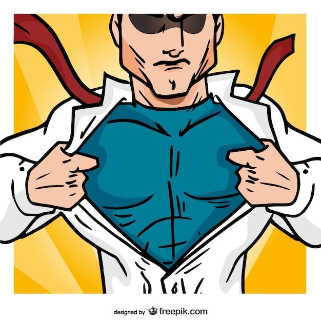 Superhéroe abriendo su camisa vector gratuito