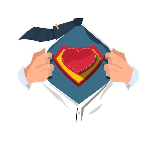 Superhéroe con corazón. Vector Premium