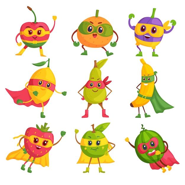 Superhéroe fruta. conjunto de personajes de dibujos animados cómicos en máscaras y capas. valientes y divertidos frutos de superhéroe. concepto de diversión vegana o vegetariana comida sana Vector Premium