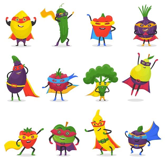 Superhéroe frutas personaje de dibujos animados afrutado de superhéroe expresión vegetales con gracioso manzana plátano o pimienta en máscara ilustración fructífera dieta vegetariana conjunto aislado sobre fondo blanco Vector Premium