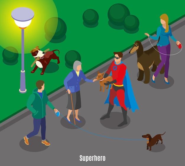 Superhéroe con mascota de anciana durante perros caminando en la noche vector gratuito