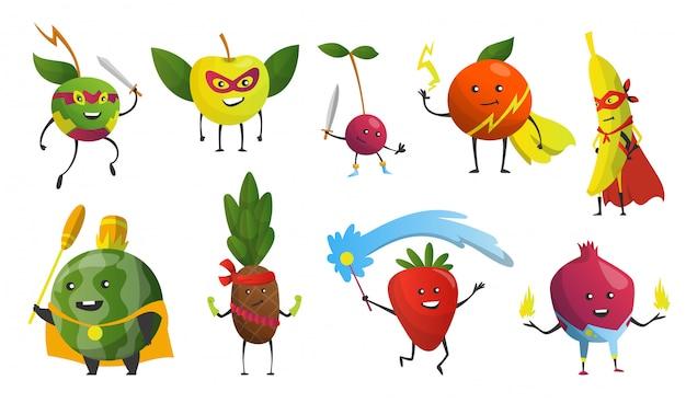 Superhéroes de dibujos animados frutas en máscaras y capas. lindos personajes de dibujos animados infantiles en trajes en diferentes poses. divertidos personajes de dibujos animados. concepto de dieta saludable. ilustración Vector Premium