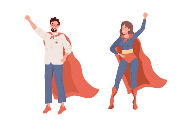 Superhéroes. vector plano de superman y superwoman Vector Premium