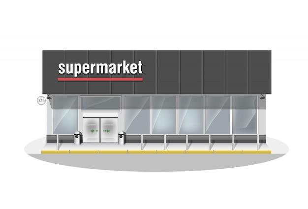 Supermercado compuesto. premium escaparate de tienda grande y puerta automática de entrada. tienda con ventanas panorámicas blancas. Vector Premium