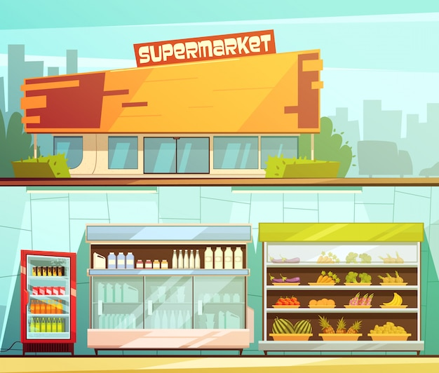 Supermercado edificio entrada calle vista y comestibles lácteos estantes interiores 2 banners de dibujos animados retro vector gratuito