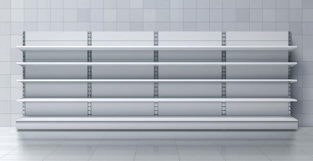 Supermercado estante largo con estantes vacíos vector vector gratuito