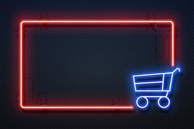 Supermercado de neón. banner de luz de hipermercado con marco brillante y carro, comercio electrónico en línea. Vector Premium