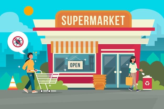 Supermercados locales reabriendo negocios después de la cuarentena Vector Premium