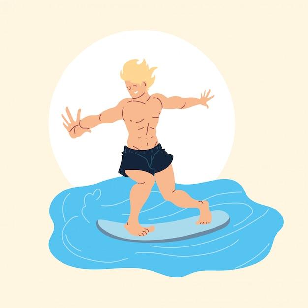 Surfista de hombre en onda, actividad al aire libre Vector Premium