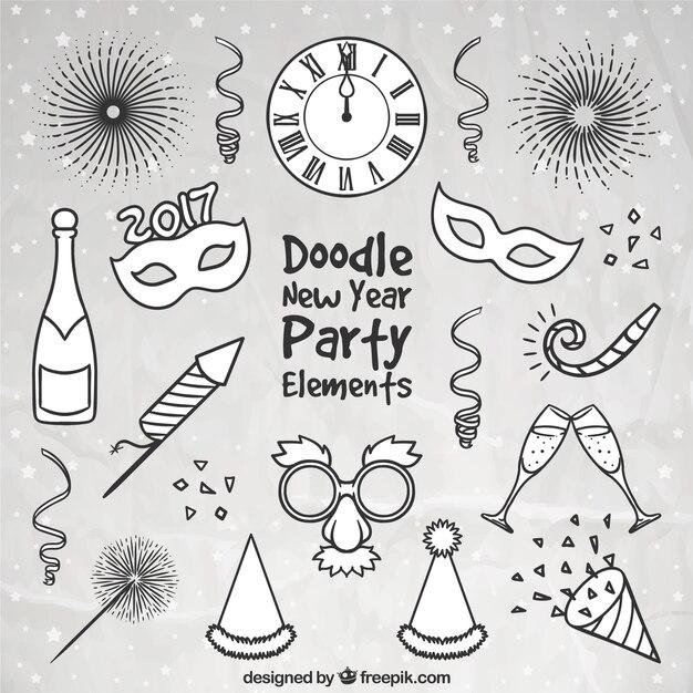 Surtido de accesorios de fiesta de año nuevo dibujados a mano Vector Premium