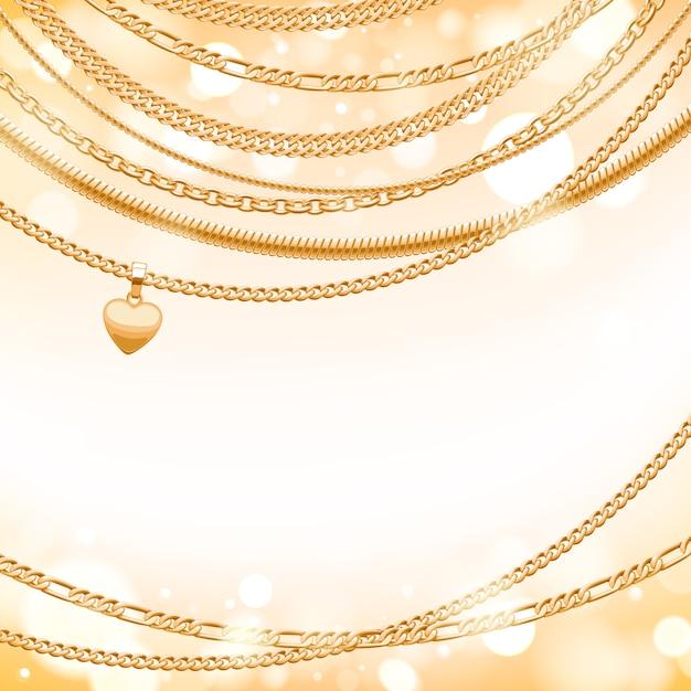 Surtido de cadenas doradas sobre fondo de brillo claro con colgante de corazón. bueno para el lujo de banner de tarjeta de portada. Vector Premium