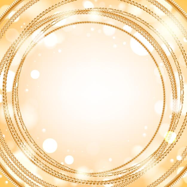 Surtido de cadenas de oro sobre fondo redondo resplandor ligero. bueno para el lujo de banner de tarjeta de portada. Vector Premium