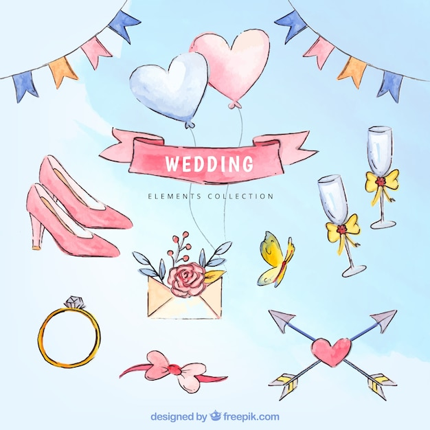 Surtido de geniales elementos de boda de acuarela Vector Gratis
