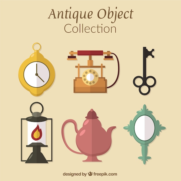 Surtido de objetos antiguos en dise o plano descargar for Compra de objetos antiguos