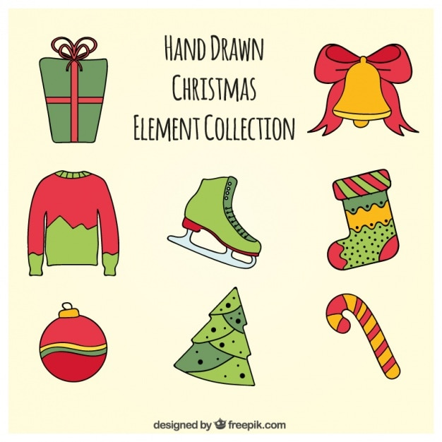 surtido de objetos navide os dibujados a mano descargar
