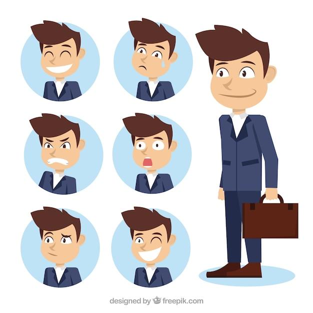 Surtido de personaje de hombre de negocios con fantásticas caras expresivas Vector Gratis