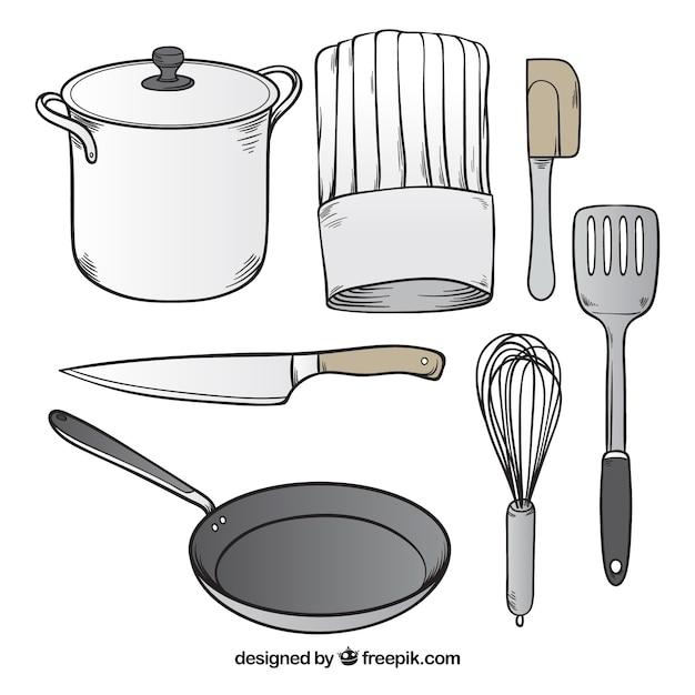 surtido de utensilios de chef dibujados a mano descargar