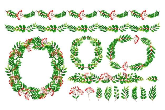 Surtido de decoración navideña en acuarela vector gratuito