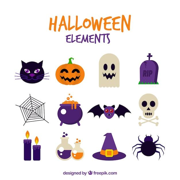Surtido de elelementos de celebración de halloween Vector Premium