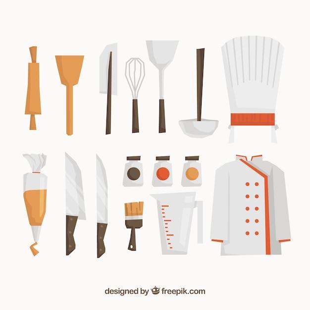 Surtido plano de elementos de chef descargar vectores gratis for Elementos de cocina para chef