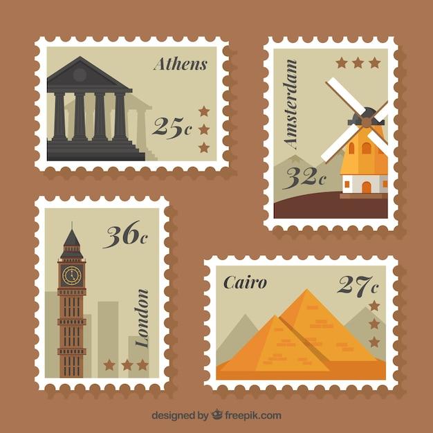 Surtido de sellos de ciudades en diseño plano vector gratuito
