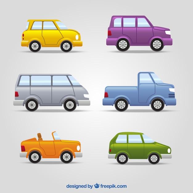Surtido de vehículos con diferentes diseños y colores vector gratuito