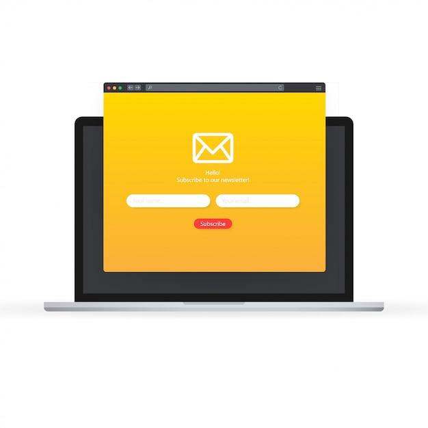 Suscríbase a nuestro boletín de noticias formulario de inscripción con sobre de correo electrónico Vector Premium