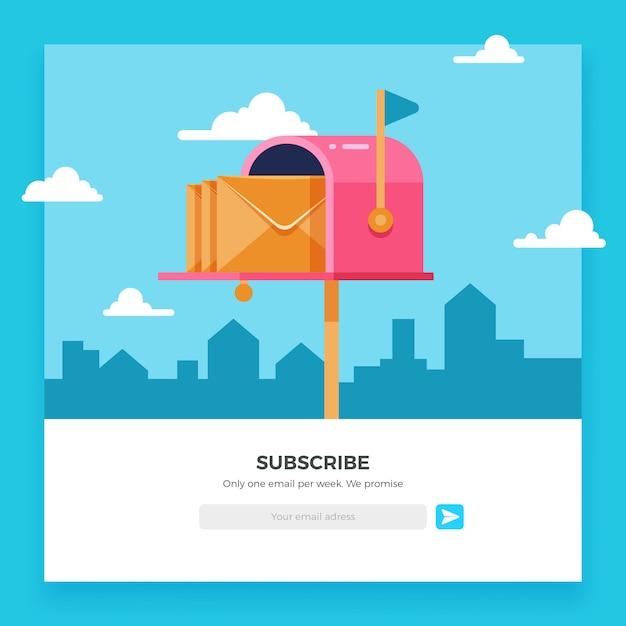 Suscripción por correo electrónico, plantilla de boletín en línea con buzón y botón de envío Vector Premium